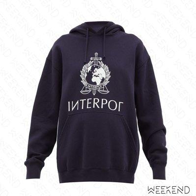 【WEEKEND】 VETEMENTS Interpol 印圖 衛衣 帽T 可當洋 深藍色 促銷
