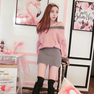 韓版性感女裝磨破收押一字領露肩針織連衣裙洋裝