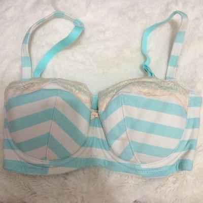 (全新出清!)日本內衣 Peach John 海洋藍條紋胸罩 30C