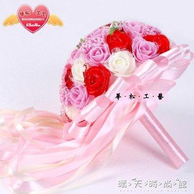 結婚用品韓式新娘手捧花仿真玫瑰花球 婚禮用品 婚紗照結婚手捧花