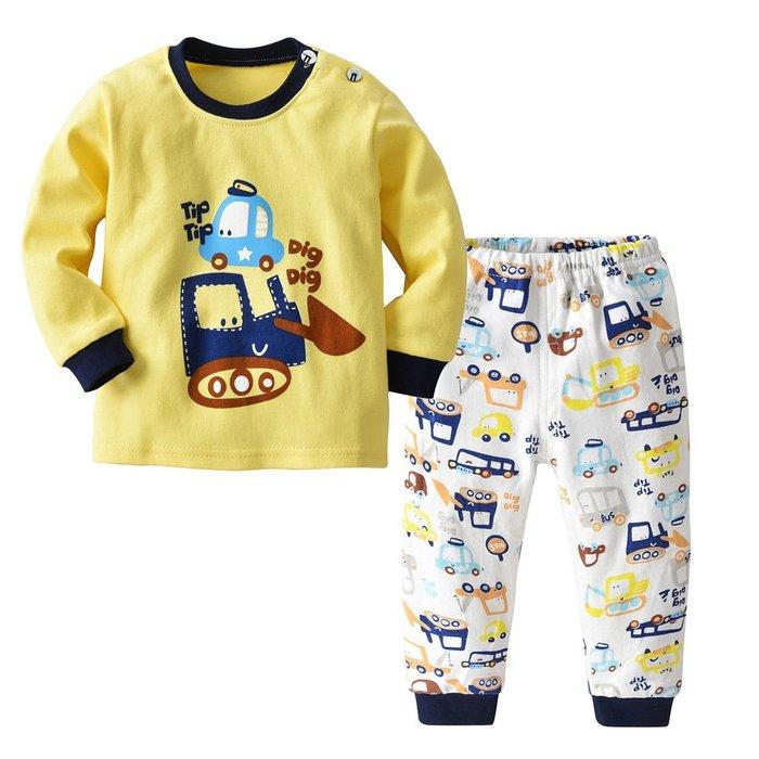 兒童 內衣 套裝純棉男女小童春秋款兩件套圓領肩扣寶寶秋衣秋褲