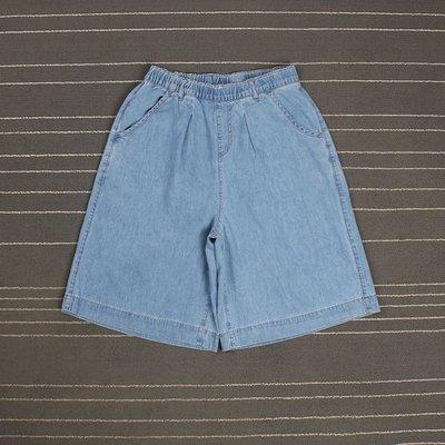 夏季超薄款淺藍色松緊腰百搭闊腿褲短褲女五分褲