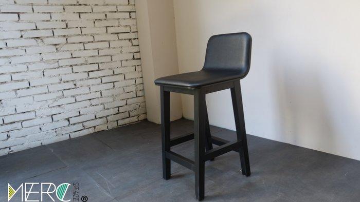 美希工坊 獨家商品 森吧椅/中島椅/吧台椅/實木吧台椅/訂色/訂製高度/黑色椅架黑色皮革/