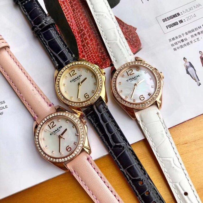NaNa代購 COACH 手錶 天然貝母面 生活防水 皮錶帶 帶鑽錶面 附購證 禮品盒
