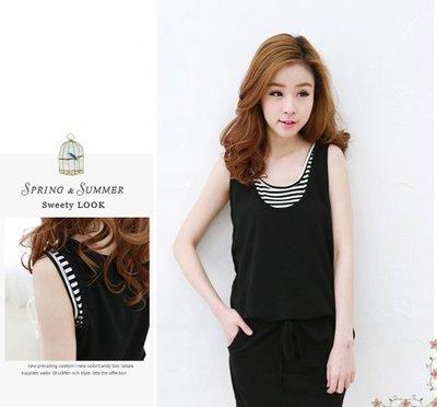 韓版雪紡風條紋拼接假兩件洋裝裙 J-11525