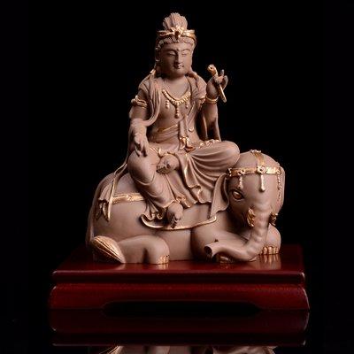 傳藝工坊  - 『普賢菩薩』 陶土 陶塑 普賢普賢 含木底座 東方藝術擺飾 佛祖 神桌擺飾 小佛像