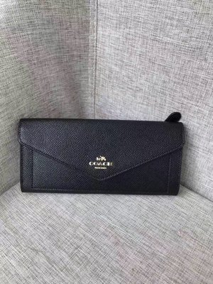 留學生like購 COACH 57715 新款 時尚信封夾 女士多功能錢包 長夾 附購買憑證