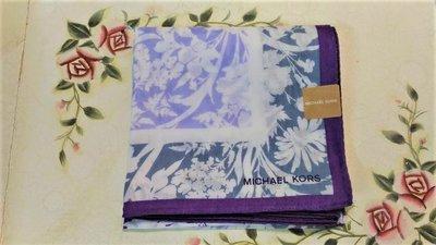 MICHAEL KORS 亮紫色邊  灰花紋  淺紫花紋  手帕 絲巾 領巾 日製 日本帶回
