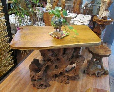 【肯萊柚木傢俱館】獨特自然風 桌面整塊...