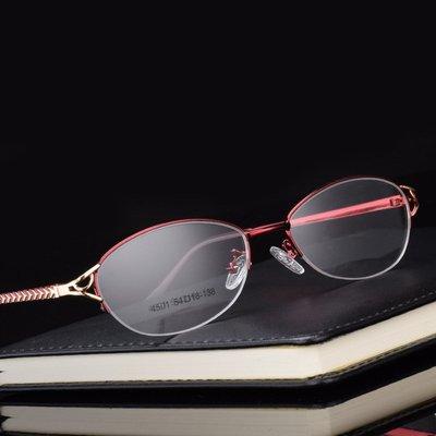 金属眼镜架 近视眼镜女款半框超轻小圆脸眼镜框