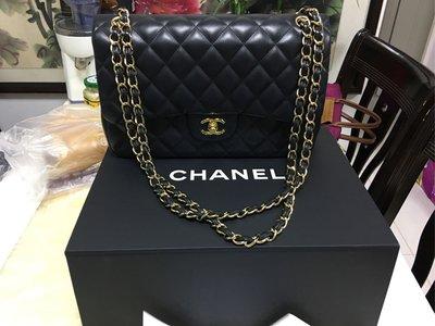 CHANEL 經典款 大號黑金 羊皮名貴手袋 有盒有單有型號 100%原廠正貨(不議價)