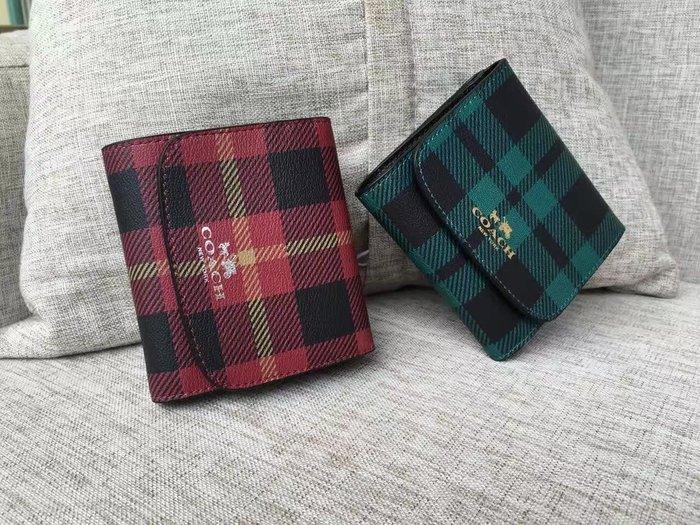 NaNa代購 COACH 55934 藍色/紅色 蘇格蘭系列 新款短夾 三折短夾 卡位多 附零錢袋 附購證