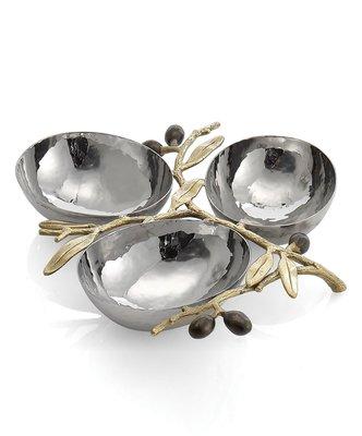 【美國Michael Aram】Olive Branch金色橄欖枝葉 不銹鋼三格擺飾盤 零食盤點心盤 收納盤 首飾小物盤