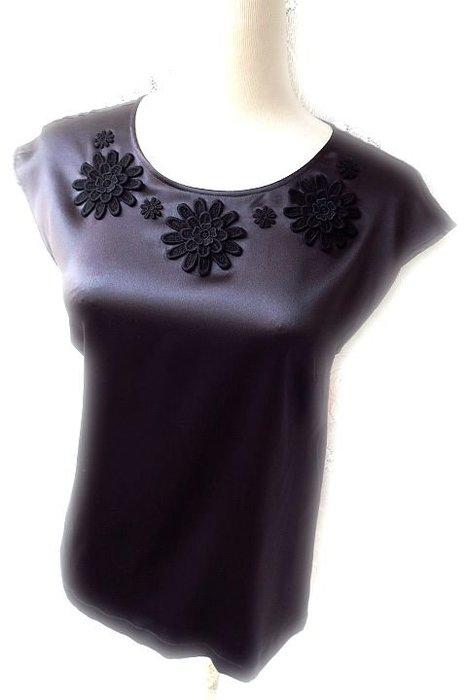 *Beauty*DOLCE&GABBANA黑色蕾絲花絲質圓領襯衫 WE17售15000元 全新附吊牌原價29800元加圖