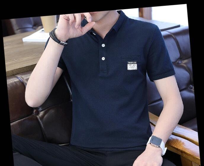 韓系 新款男士休閒貼布翻領短袖T恤衫 C104