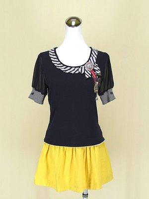 kae Leei 凱蕾 靛藍圓領短袖雪紡紗棉質上衣M(9號)+casual wear日本黃色棉質短裙F號(57461)