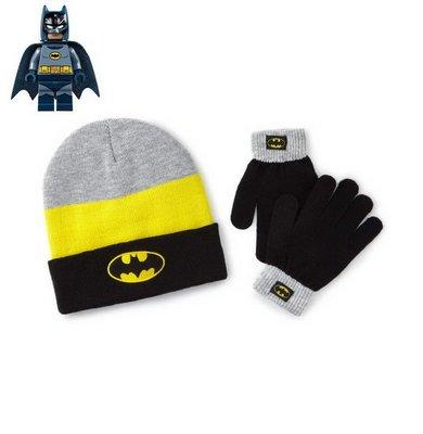 出口美國BATMAN蝙蝠俠LOGO黑反褶款毛線帽+手套組(4~8歲適用)禦寒專用