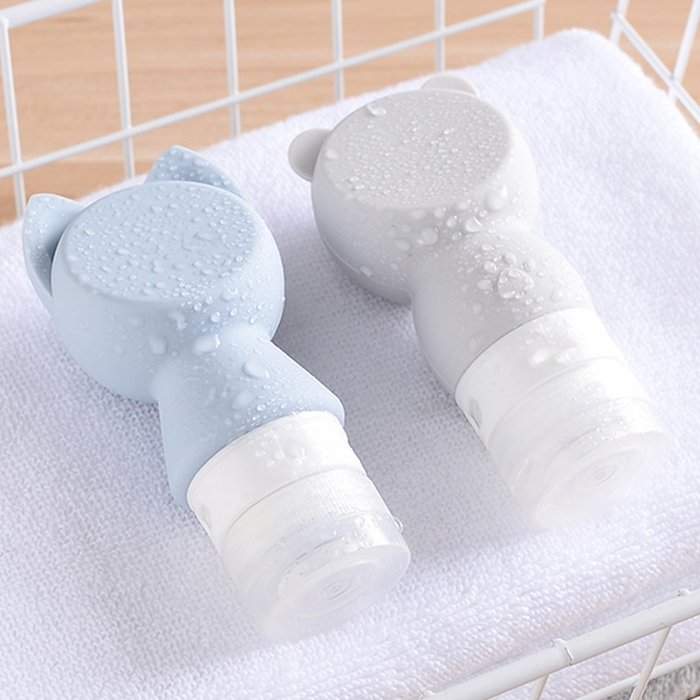 四季美便攜貓頭硅膠分裝瓶化妝品瓶子旅行洗手液乳液瓶小空瓶