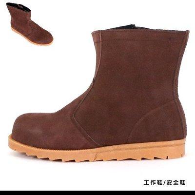 男款 MIT真皮側邊拉鍊寬楦鋼頭 耐磨止滑側邊縫線高筒麂皮 安全鞋 工作靴 Ovan