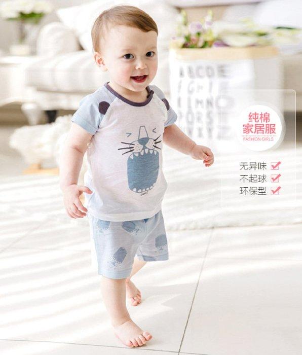 現貨~男女兒童家居服 嬰幼童純棉短袖套裝(上衣+短褲/淺藍色)