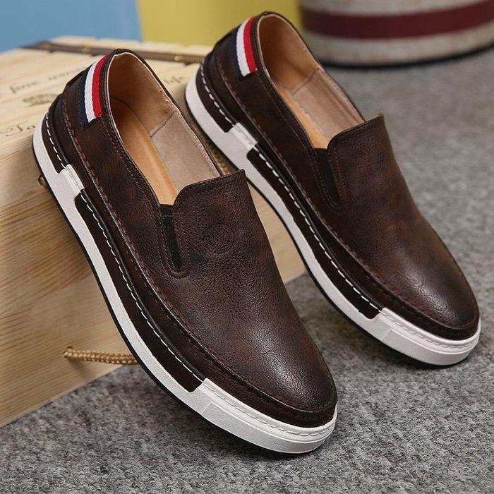 休閒  男鞋 秋季新款板鞋 男士  英倫 透氣 休閒  皮鞋 潮流時尚低幫懶人鞋子