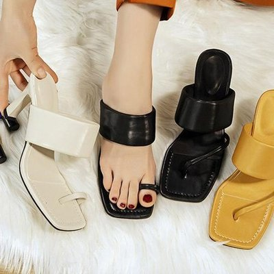 楔型厚底涼拖鞋涼鞋 設計款夏季露趾粗跟流線涼鞋高跟鞋 艾爾莎【TSB8883】