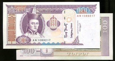 Mongolia(蒙古紙幣),P-NEW,100-TUG.,2008,品相全新UNC