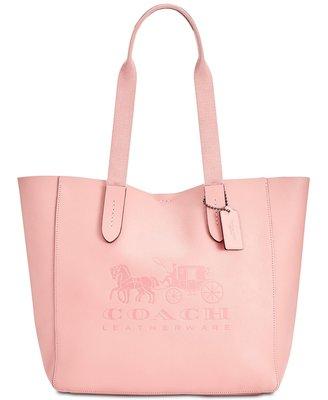 Coco小舖COACH 25099 Grove Signature Tote 粉紅色馬車圖騰皮革托特包特價$4999含運