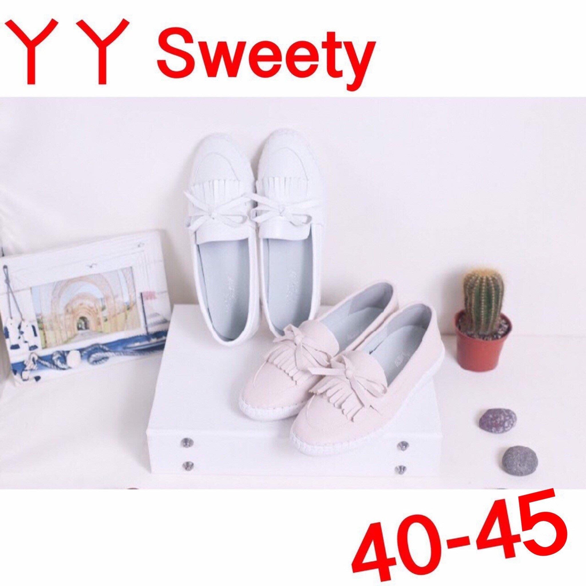 ☆(( 丫 丫 Sweety )) ☆。大尺碼女鞋。人氣商品真皮蝴蝶結小白鞋40-45(D536)下標時以即時庫存為主