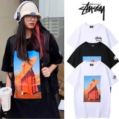 2021 新款 Stussy  maiden 少女 沖浪板 照片印花 寬松版型 情侶 短袖 T恤 夏季