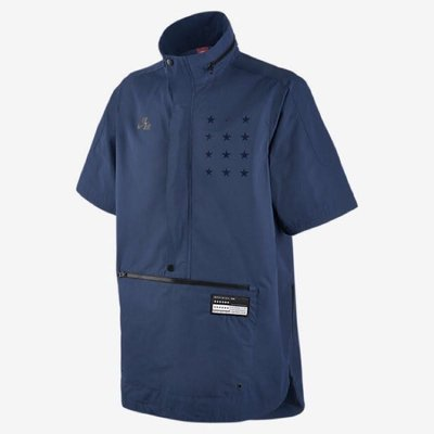 NIKE AIR SHORT SLEEVE JACKET 藍黑星星 短袖 連帽風衣外套 802630-423