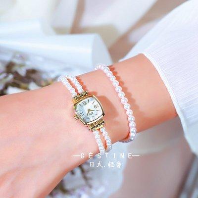薇安手錶集市~日系原宿ins風ete天然淡水珍珠手錶女士日本復古小眾石英錶貝母盤