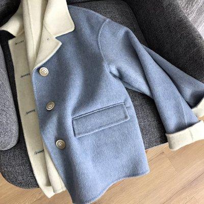 《巴黎拜金女》澳洲純新羊毛手工縫製!雙面呢短外套