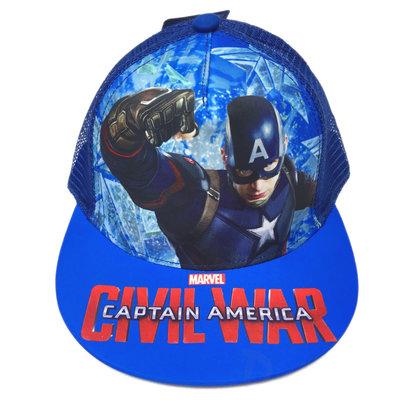 【卡漫迷】 美國隊長 網帽 ㊣版 透氣 帽子 兒童 男童 童帽 遮陽帽 棒球帽 網球帽 鴨舌帽 純棉 Marvel 漫威