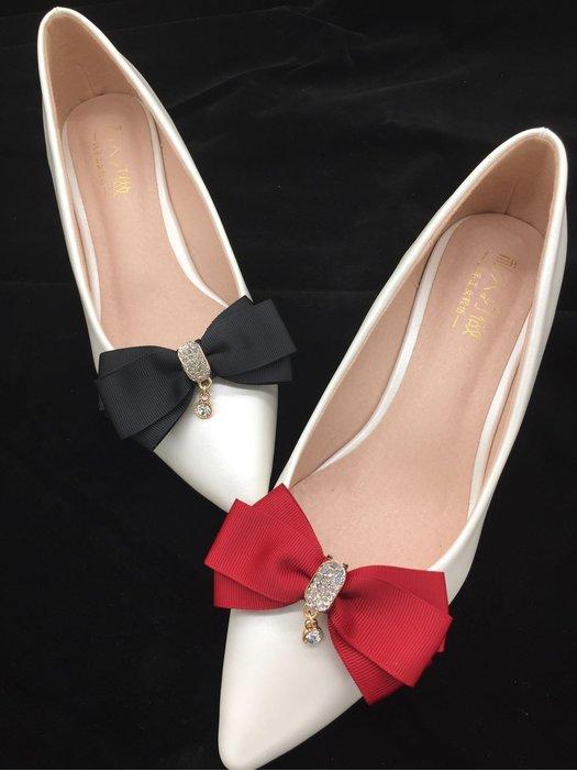 DAFA 經典緞帶蝴蝶結立體可拆卸式鞋扣/鞋飾/新娘鞋/晚宴鞋  婚禮 婚禮小物  現貨~~