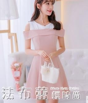 短袖洋裝夏新款大碼韓版短袖百搭連身裙女時尚顯瘦拼接打底裙