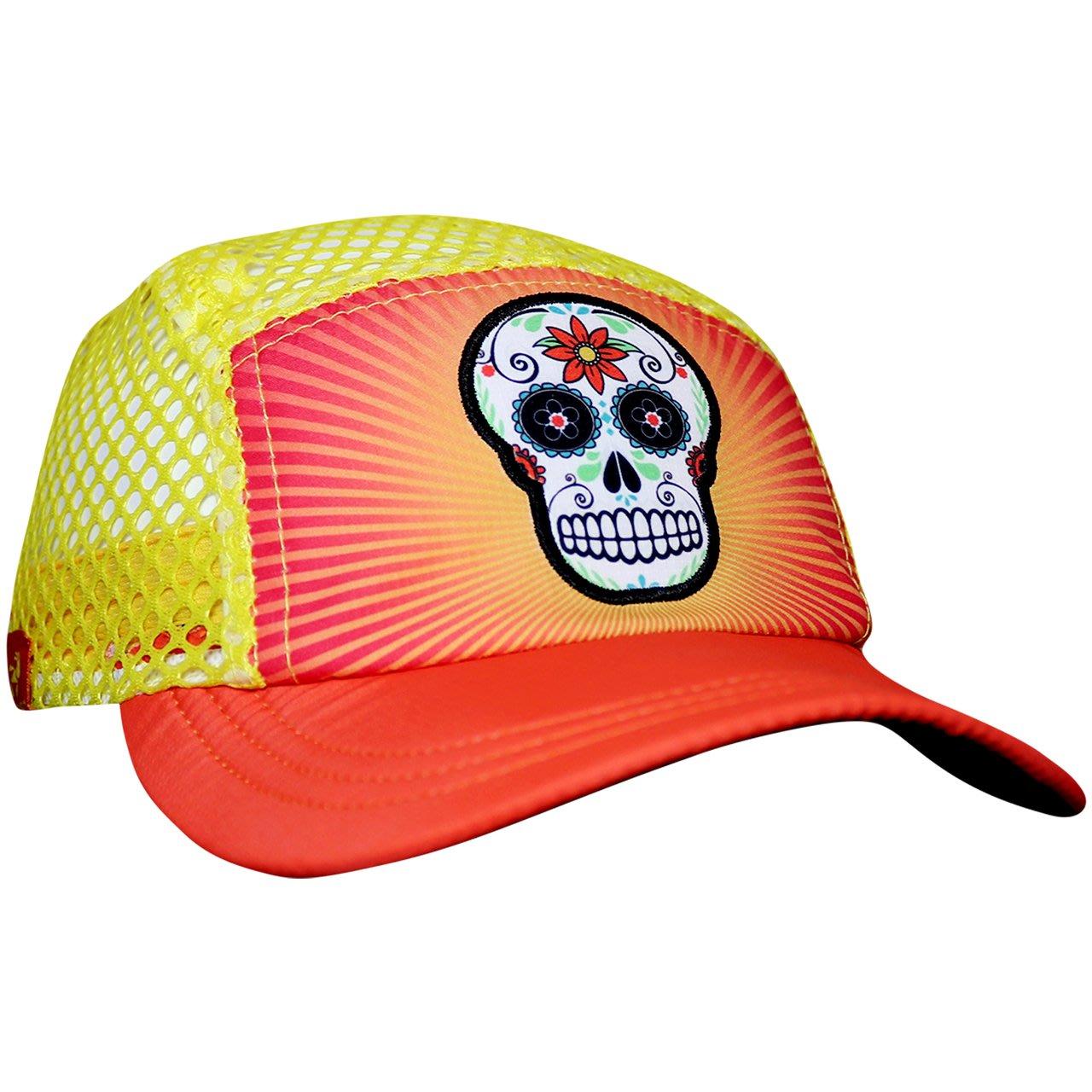Orange Sugar Skull軟檐帽摺疊收納方便汗淂HEADSWEATS運動帽.另推薦由4支回收寶特瓶製成運動衣.