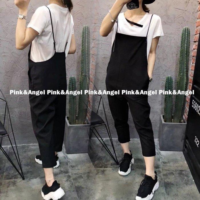 ❤Pink&Angel❤【33980】S~XL號 韓版時尚個性新款勾勾寬鬆九分吊帶褲。黑色。現+預