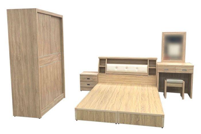 台中二手家具西屯樂居全新中古傢俱WG8ADj*全新梧桐5X6雙人床底+床頭櫃+床邊櫃+化妝台含椅+4尺衣櫃*臥室家具