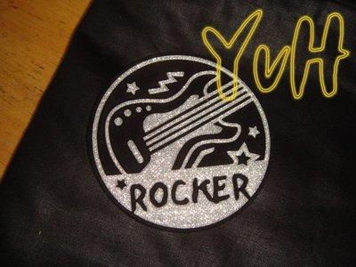 DR==YvH==PillowCase 貼布繡 燙銀吉它Rocker 100%精梳純棉黑色信封型枕頭套 台灣製210針 (現貨)