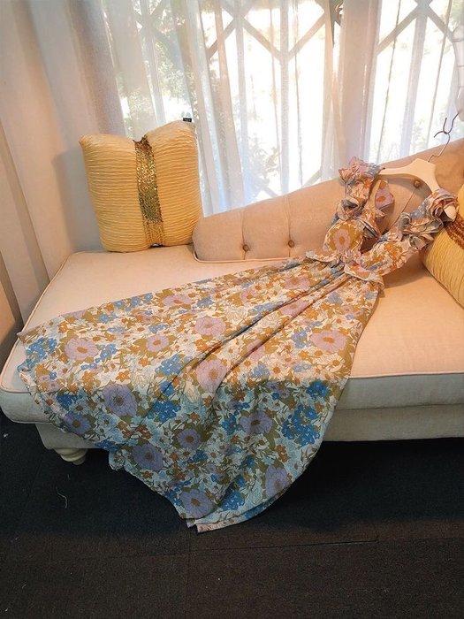 PapaDarling 20SS 法式性感深V領綁帶荷葉邊碎花 渡假長裙 連身裙 洋裝