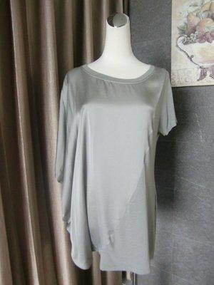 OLIVIA HOPS 不對稱斜裁拼接長版上衣 義大利精品 義大利製造 灰色+珠光灰 親膚絲棉 優雅舒適時尚