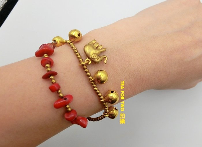 泰國現貨NO1,民俗風手鍊(雙層),紅金色大象