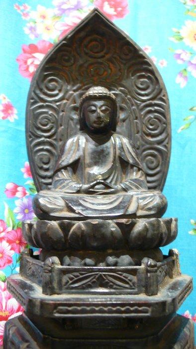 日本明治時期老黑漆釋迦佛