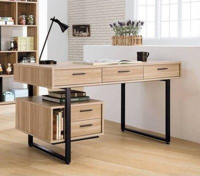 [米蘭諾家具]雷休原木色5尺書桌 工業風書桌 有抽書桌 五尺書桌 辦公桌 主管桌  現代書桌 設計款書桌