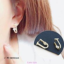 Little-luck~日韓流行 韓國純10k金黃金耳環 U型個性耳扣微鑲鋯石k純金耳環女