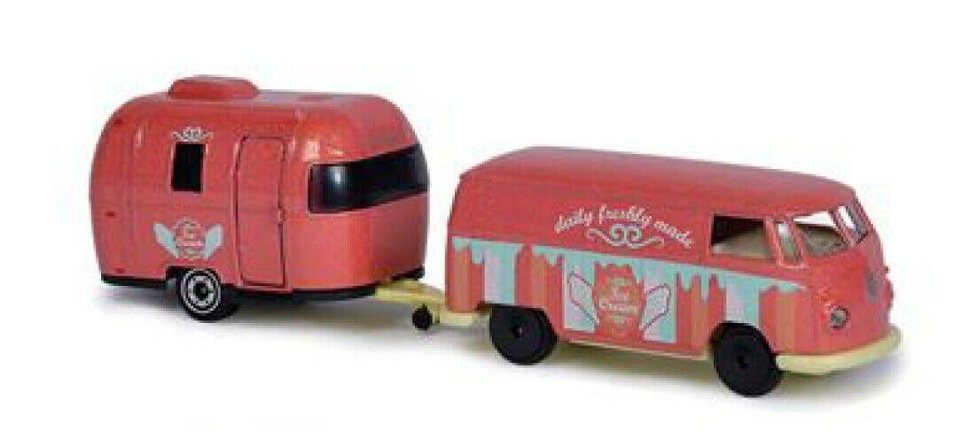 ^.^飛行屋(全新品)majorette 美捷輪小汽車 合金車//拖車系列~福斯 VW T1 麵包車+露營車(盒裝版)