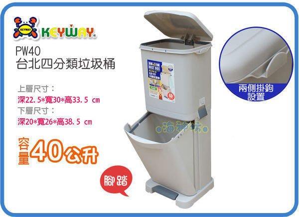 海神坊=台製 KEYWAY PW40 台北四分類垃圾桶 上下層直立式環保桶 腳踏式回收桶 附蓋40L 2入1600元免運