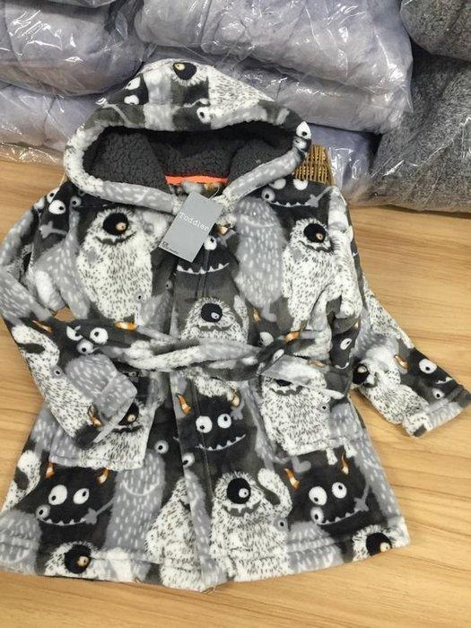 香港OUTLET代購 歐美品牌 珊瑚絨浴袍 中小童 加厚 保暖 連帽睡袍 居家服 法蘭絨 卡通睡衣浴袍 灰色小怪獸