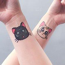 熱銷#手繪卡通動漫美少女戰士貓咪女生防水手腕紋身貼手臂持久#紋身貼#貼紙